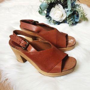 Zara Wood Heels W/ Leather Strap & Belt Buckle